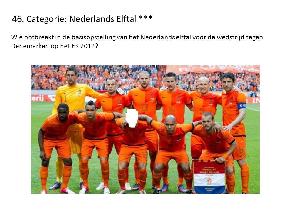 46. Categorie: Nederlands Elftal *** Wie ontbreekt in de basisopstelling van het Nederlands elftal voor de wedstrijd tegen Denemarken op het EK 2012?