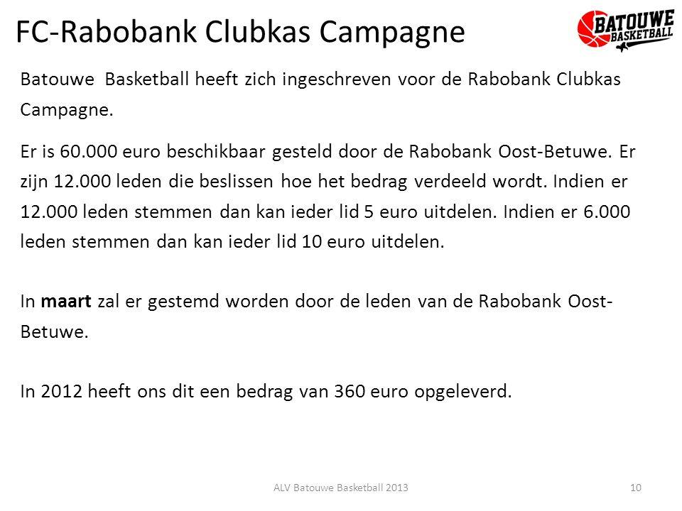 FC-Rabobank Clubkas Campagne Batouwe Basketball heeft zich ingeschreven voor de Rabobank Clubkas Campagne. Er is 60.000 euro beschikbaar gesteld door