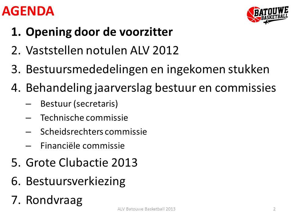 AGENDA 1.Opening door de voorzitter 2.Vaststellen notulen ALV 2012 3.Bestuursmededelingen en ingekomen stukken 4.Behandeling jaarverslag bestuur en co