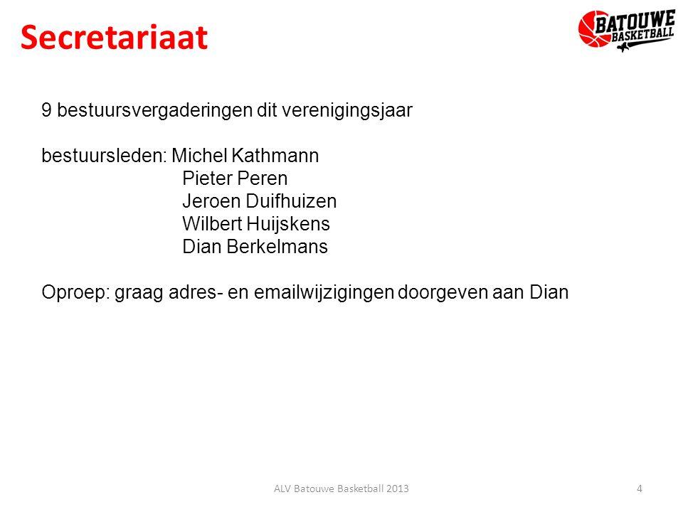 Secretariaat 4ALV Batouwe Basketball 2013 9 bestuursvergaderingen dit verenigingsjaar bestuursleden: Michel Kathmann Pieter Peren Jeroen Duifhuizen Wi