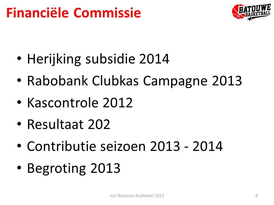 Financiële Commissie Herijking subsidie 2014 Rabobank Clubkas Campagne 2013 Kascontrole 2012 Resultaat 202 Contributie seizoen 2013 - 2014 Begroting 2