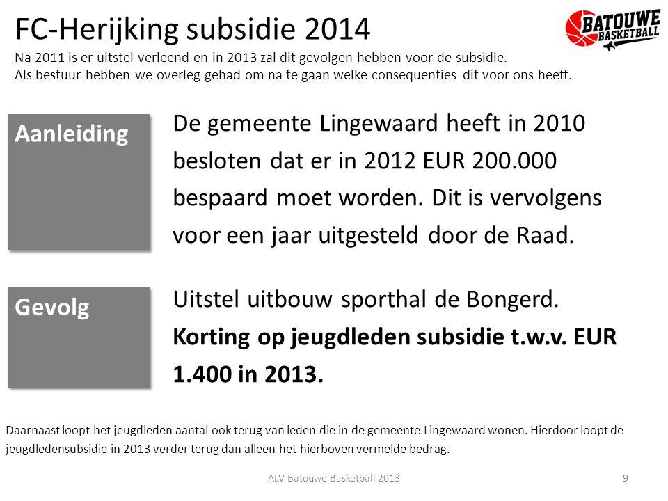 FC-Herijking subsidie 2014 Na 2011 is er uitstel verleend en in 2013 zal dit gevolgen hebben voor de subsidie. Als bestuur hebben we overleg gehad om