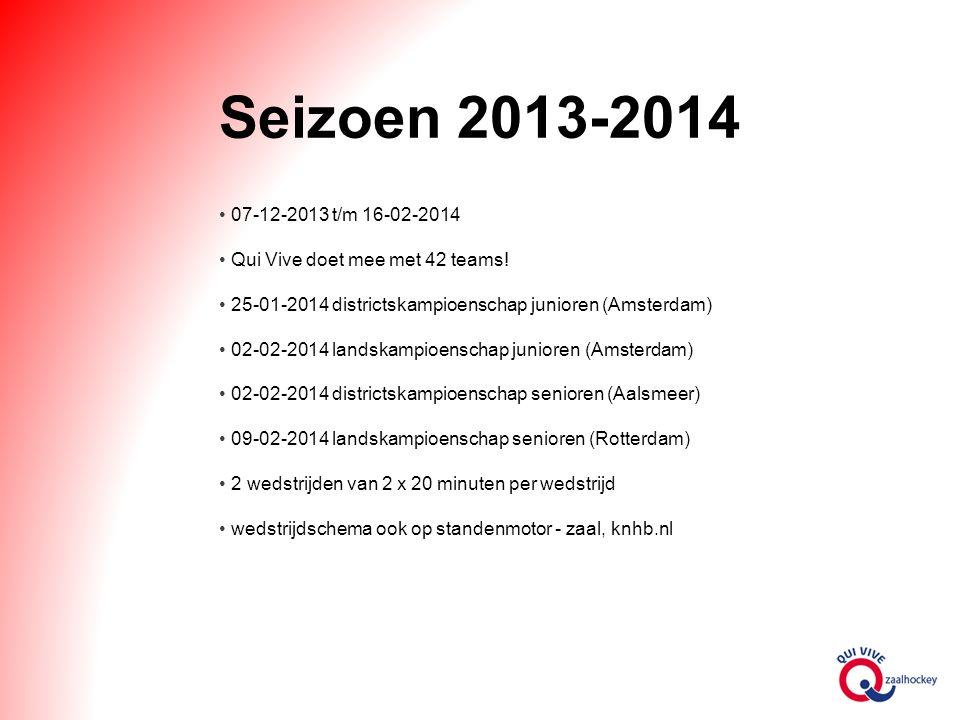 Seizoen 2013-2014 07-12-2013 t/m 16-02-2014 Qui Vive doet mee met 42 teams.