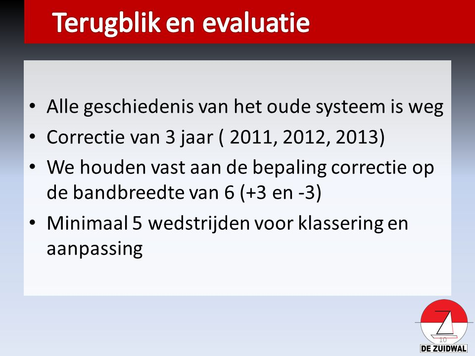 Alle geschiedenis van het oude systeem is weg Correctie van 3 jaar ( 2011, 2012, 2013) We houden vast aan de bepaling correctie op de bandbreedte van