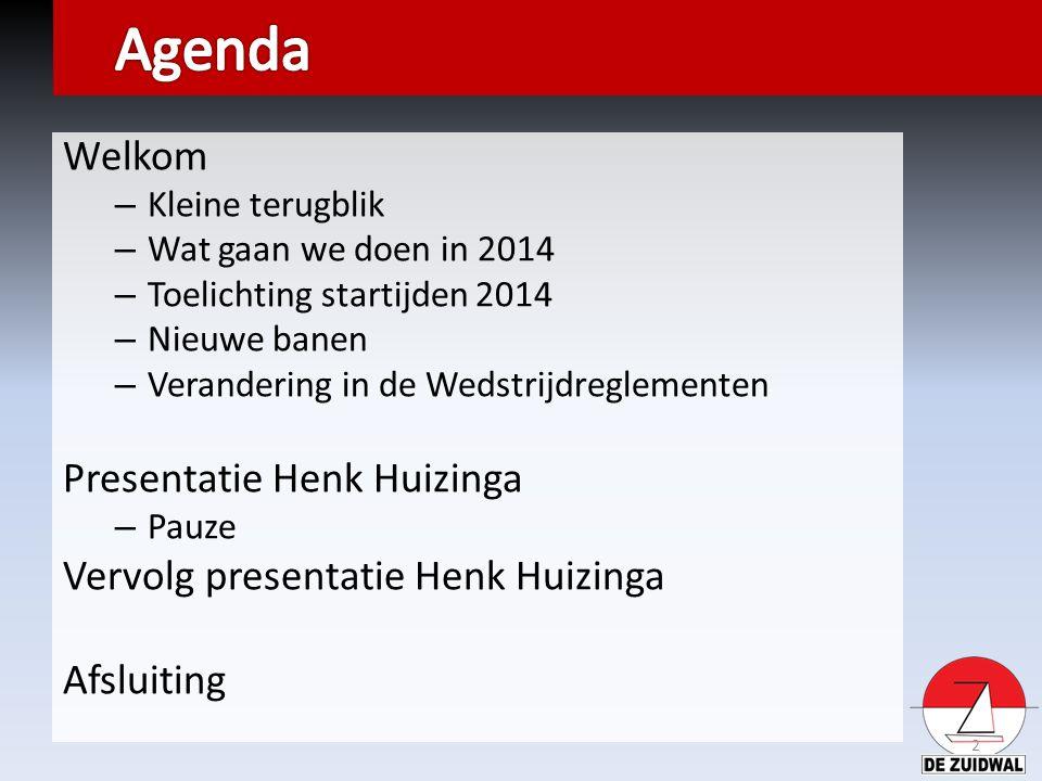 Welkom – Kleine terugblik – Wat gaan we doen in 2014 – Toelichting startijden 2014 – Nieuwe banen – Verandering in de Wedstrijdreglementen Presentatie Henk Huizinga – Pauze Vervolg presentatie Henk Huizinga Afsluiting 2