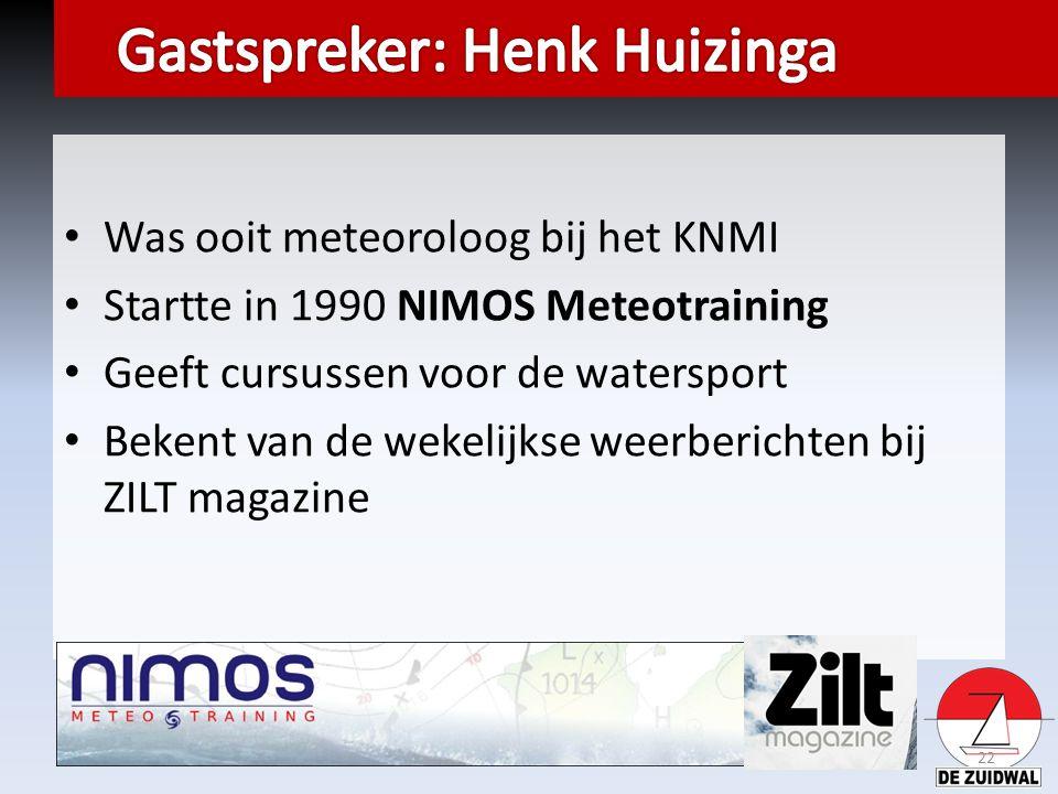 Was ooit meteoroloog bij het KNMI Startte in 1990 NIMOS Meteotraining Geeft cursussen voor de watersport Bekent van de wekelijkse weerberichten bij ZILT magazine 22