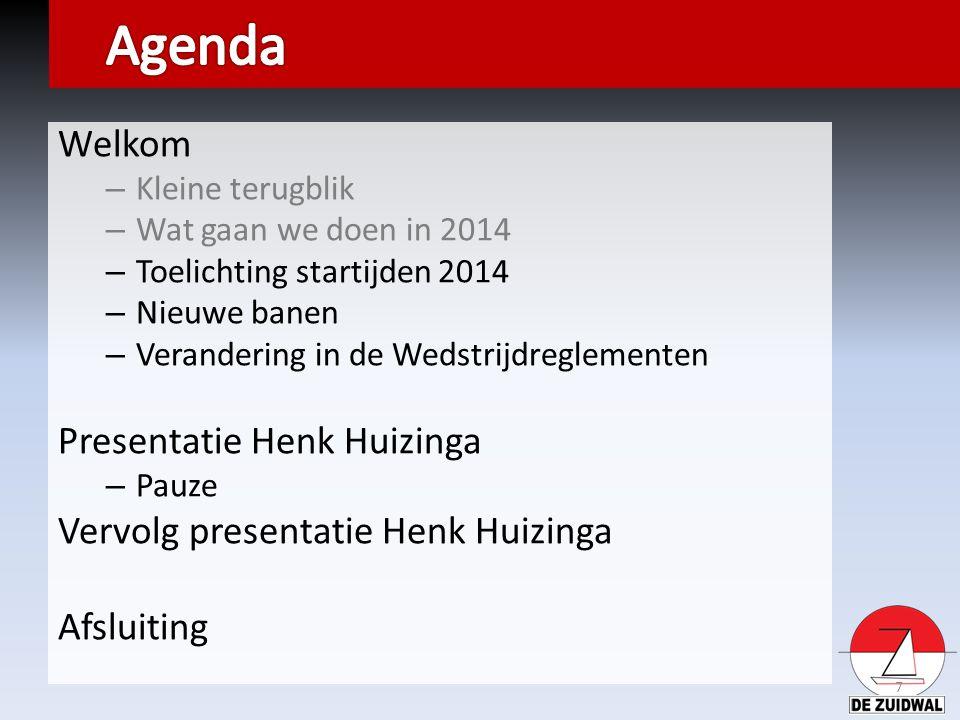 Welkom – Kleine terugblik – Wat gaan we doen in 2014 – Toelichting startijden 2014 – Nieuwe banen – Verandering in de Wedstrijdreglementen Presentatie Henk Huizinga – Pauze Vervolg presentatie Henk Huizinga Afsluiting 7