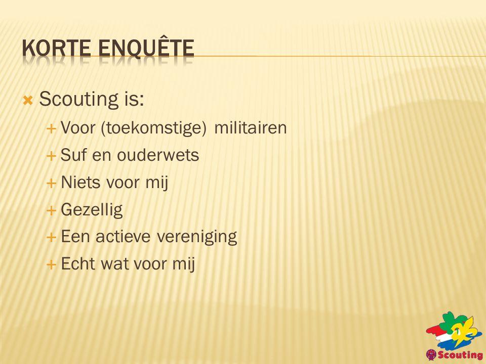  Scouting is:  Voor (toekomstige) militairen  Suf en ouderwets  Niets voor mij  Gezellig  Een actieve vereniging  Echt wat voor mij
