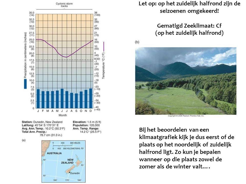 Let op: op het zuidelijk halfrond zijn de seizoenen omgekeerd! Gematigd Zeeklimaat: Cf (op het zuidelijk halfrond) Bij het beoordelen van een klimaatg