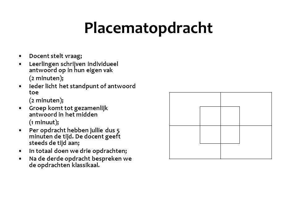 Placematopdracht Docent stelt vraag; Leerlingen schrijven individueel antwoord op in hun eigen vak (2 minuten); Ieder licht het standpunt of antwoord