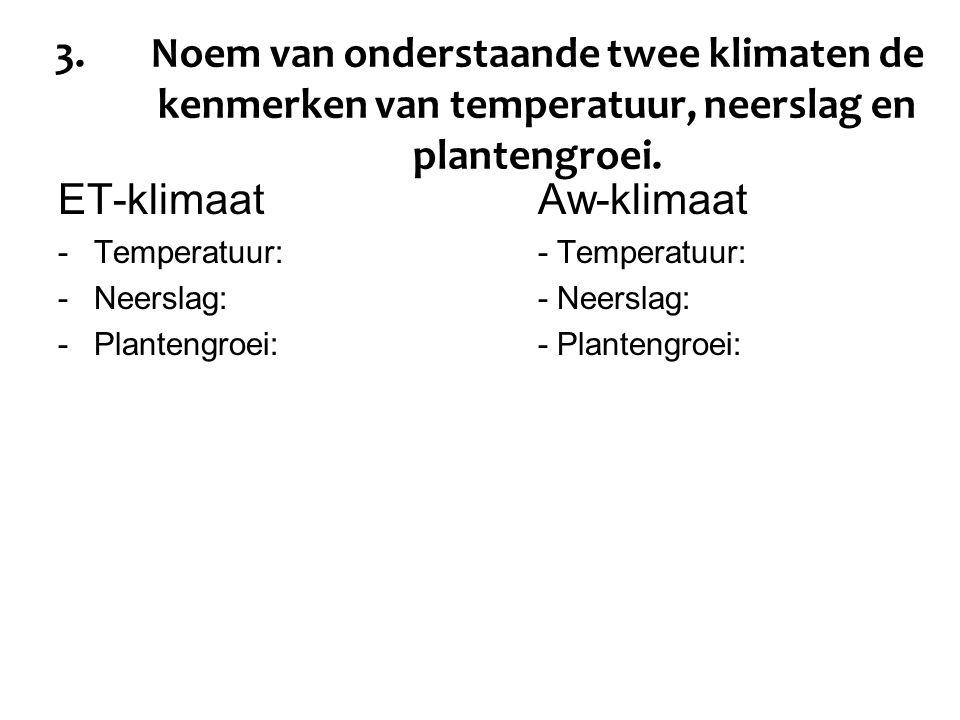 3.Noem van onderstaande twee klimaten de kenmerken van temperatuur, neerslag en plantengroei. ET-klimaatAw-klimaat -Temperatuur:- Temperatuur: -Neersl