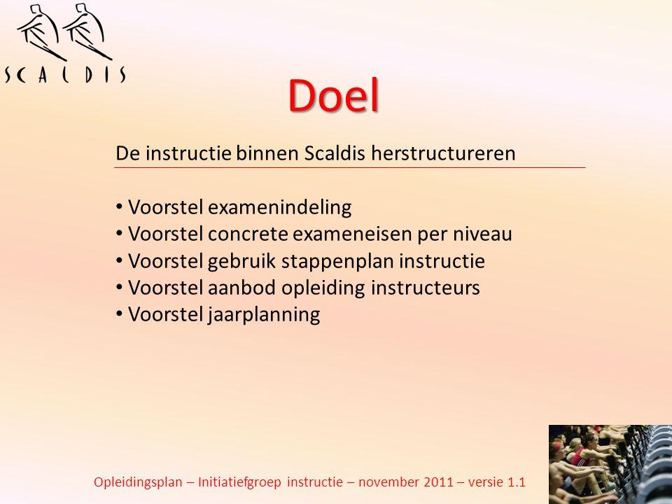 Doel De instructie binnen Scaldis herstructureren Voorstel examenindeling Voorstel concrete exameneisen per niveau Voorstel gebruik stappenplan instru