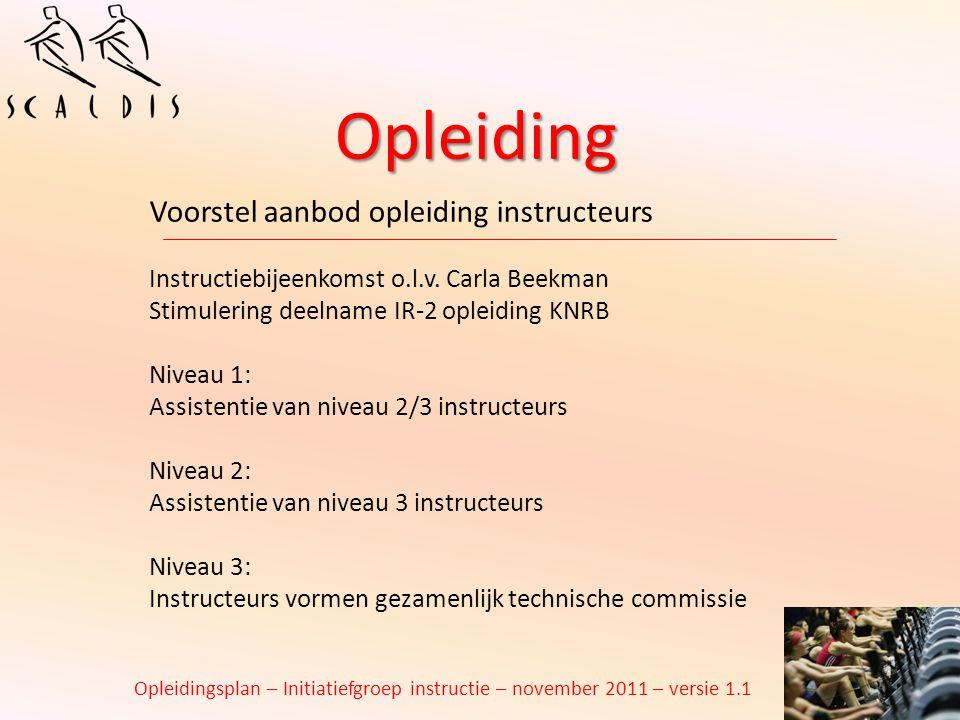 Opleiding Voorstel aanbod opleiding instructeurs Instructiebijeenkomst o.l.v. Carla Beekman Stimulering deelname IR-2 opleiding KNRB Niveau 1: Assiste
