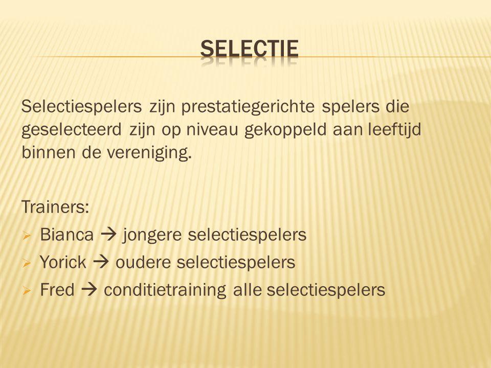  Evaluatie seizoen tijdens gesprek met de trainer  Niet voldoen aan verwachtingen = uit de selectie!
