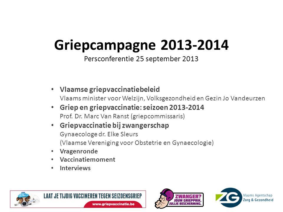 Vlaamse griepvaccinatiebeleid Cijfers voor België : + 200.000 mensen met griepachtige symptomen naar de huisarts ± 4.000 mensen moeten zich door de griep laten opnemen in het ziekenhuis ± 470 mensen, vooral ouderen, overlijden aan de infectie.