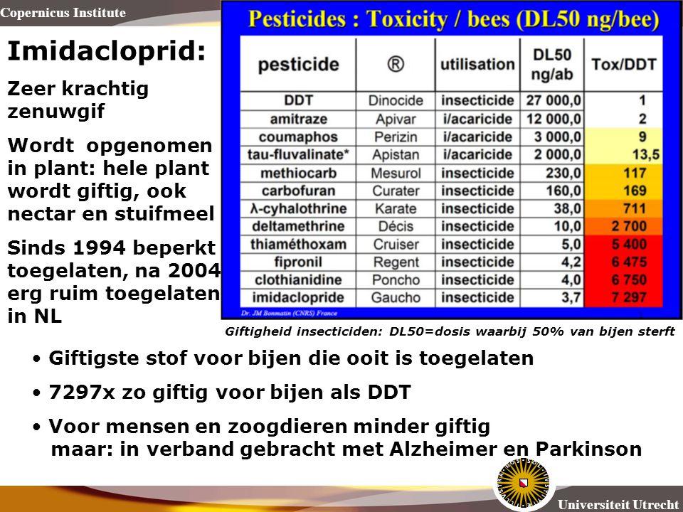 Copernicus Institute Universiteit Utrecht Imidacloprid: Zeer krachtig zenuwgif Wordt opgenomen in plant: hele plant wordt giftig, ook nectar en stuifm
