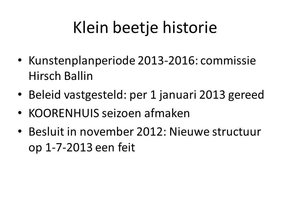 Klein beetje historie Kunstenplanperiode 2013-2016: commissie Hirsch Ballin Beleid vastgesteld: per 1 januari 2013 gereed KOORENHUIS seizoen afmaken Besluit in november 2012: Nieuwe structuur op 1-7-2013 een feit