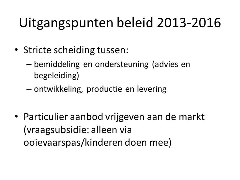 Uitgangspunten beleid 2013-2016 Stricte scheiding tussen: – bemiddeling en ondersteuning (advies en begeleiding) – ontwikkeling, productie en levering