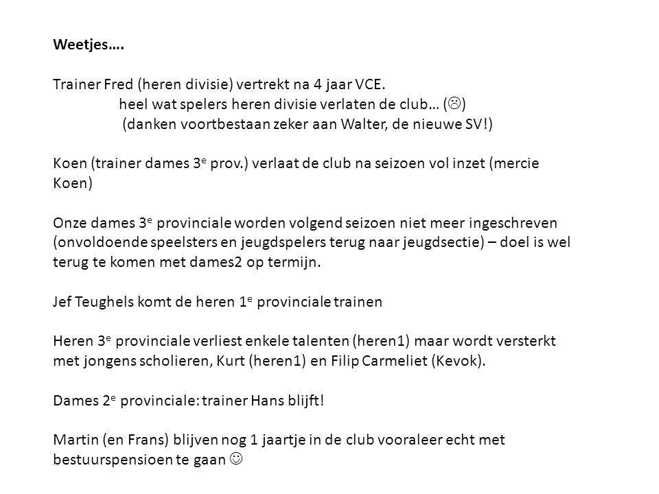 Weetjes…. Trainer Fred (heren divisie) vertrekt na 4 jaar VCE. heel wat spelers heren divisie verlaten de club… (  ) (danken voortbestaan zeker aan W