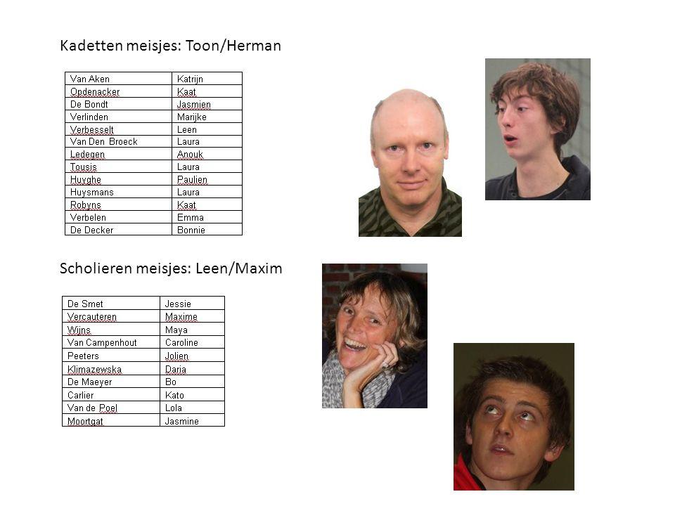 Kadetten meisjes: Toon/Herman Scholieren meisjes: Leen/Maxim