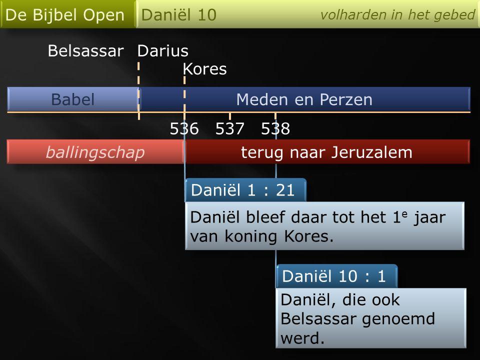 De Bijbel Open Daniël 10 volharden in het gebed Daniël 10 : 12 want vanaf de eerste dag … zijn uw woorden gehoord, en omwille van uw woorden ben ik gekomen.