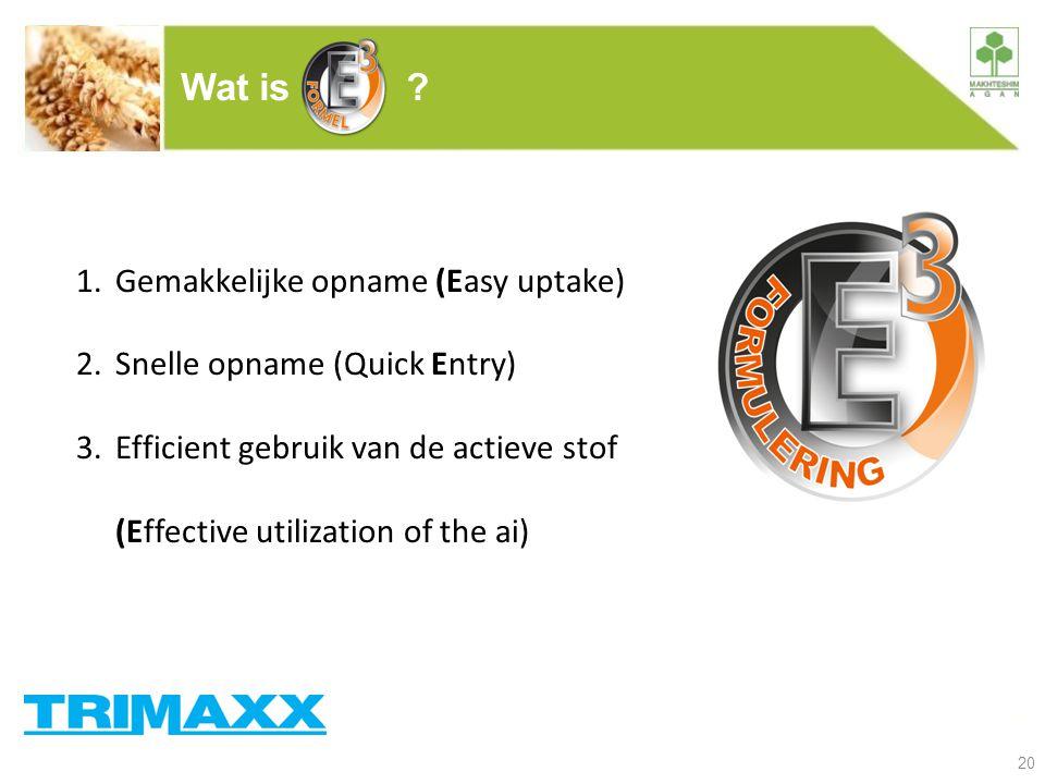 20 Wat is ? 1.Gemakkelijke opname (Easy uptake) 2.Snelle opname (Quick Entry) 3.Efficient gebruik van de actieve stof (Effective utilization of the ai