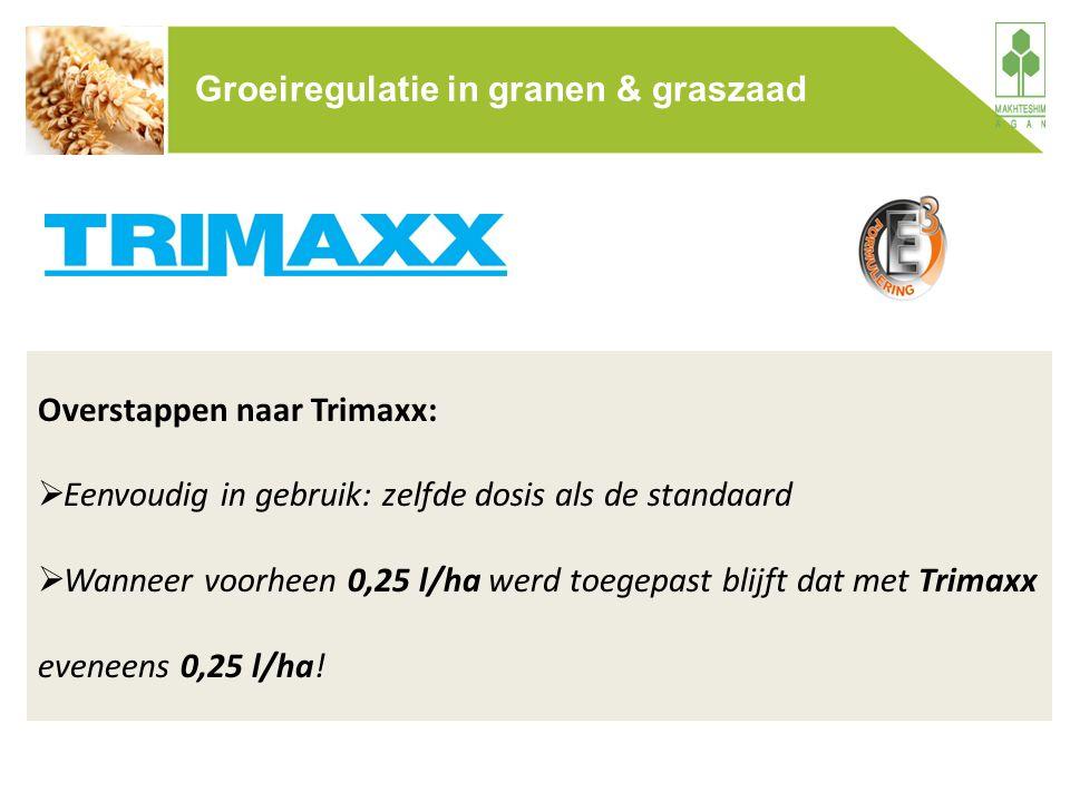 Overstappen naar Trimaxx:  Eenvoudig in gebruik: zelfde dosis als de standaard  Wanneer voorheen 0,25 l/ha werd toegepast blijft dat met Trimaxx eve