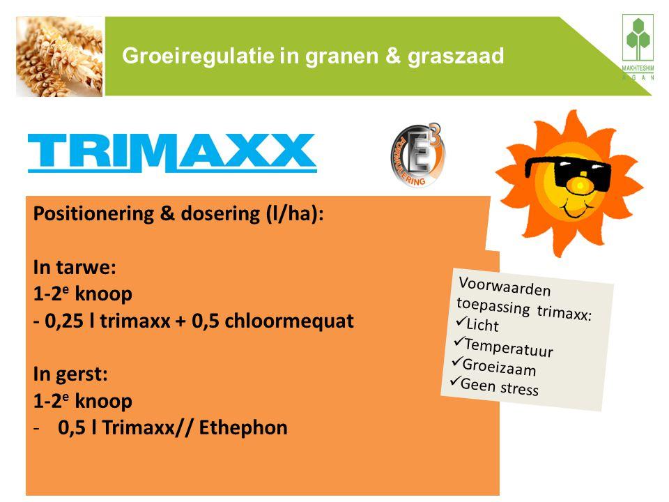 Positionering & dosering (l/ha): In tarwe: 1-2 e knoop - 0,25 l trimaxx + 0,5 chloormequat In gerst: 1-2 e knoop -0,5 l Trimaxx// Ethephon Voorwaarden