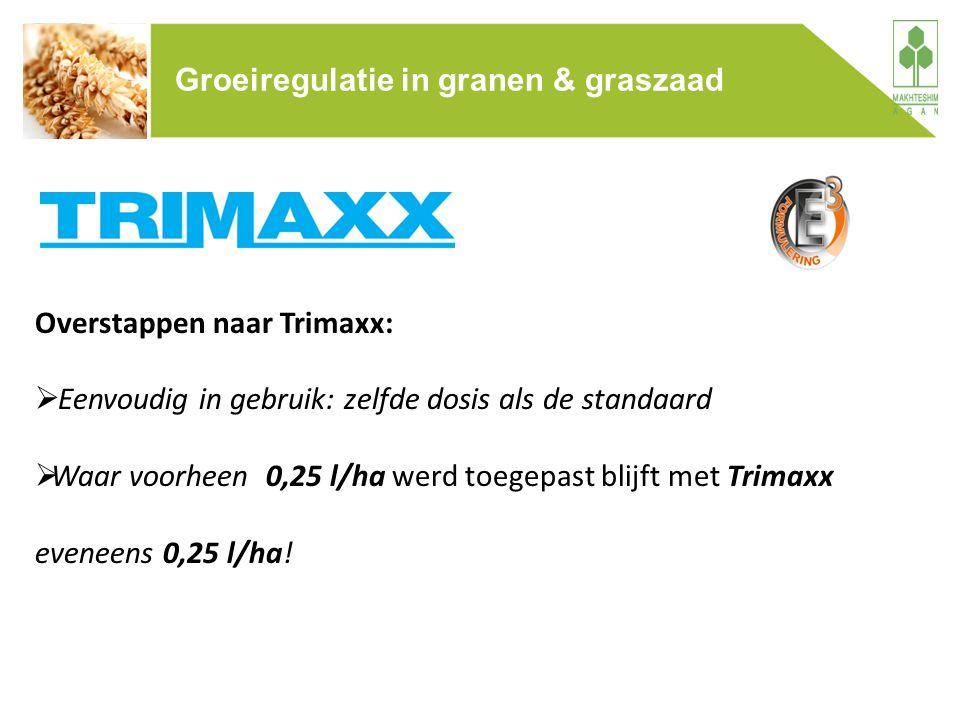 Overstappen naar Trimaxx:  Eenvoudig in gebruik: zelfde dosis als de standaard  Waar voorheen 0,25 l/ha werd toegepast blijft met Trimaxx eveneens 0