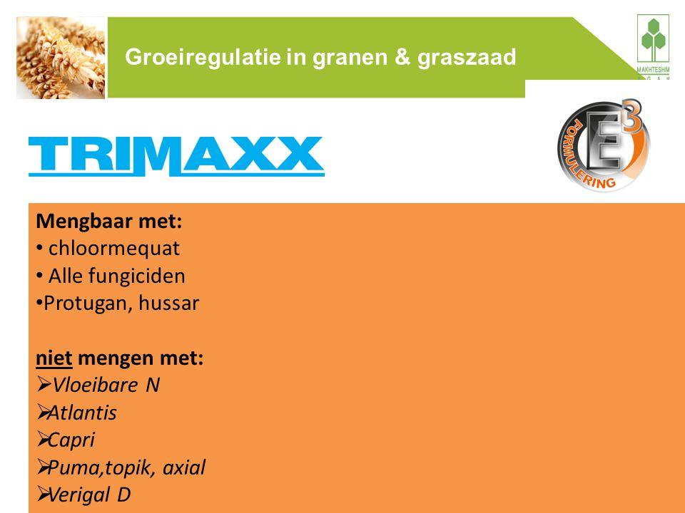 Mengbaar met: chloormequat Alle fungiciden Protugan, hussar niet mengen met:  Vloeibare N  Atlantis  Capri  Puma,topik, axial  Verigal D Groeireg