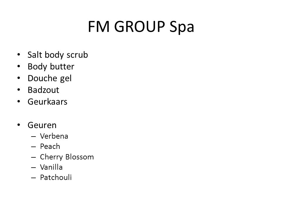 FM GROUP Spa Salt body scrub Body butter Douche gel Badzout Geurkaars Geuren – Verbena – Peach – Cherry Blossom – Vanilla – Patchouli