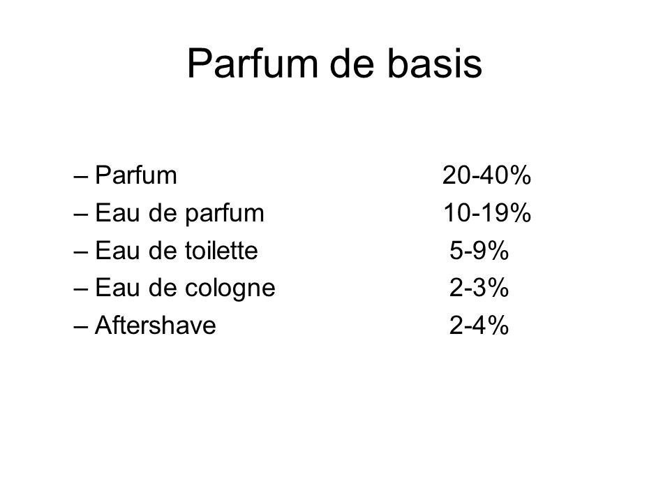 Parfum de basis –Parfum 20-40% –Eau de parfum10-19% –Eau de toilette 5-9% –Eau de cologne 2-3% –Aftershave 2-4%