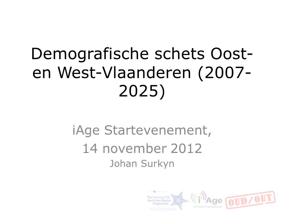 Korte inhoud Inleiding vergrijzing Demografische trends: Vlaanderen in Europa West- en Oost-Vlaamse bevolking, provinciale en regionale verschillen Krachtlijnen van de verwachte demografische toekomst De genuanceerde relatie tussen demografie en arbeidsmarkt.