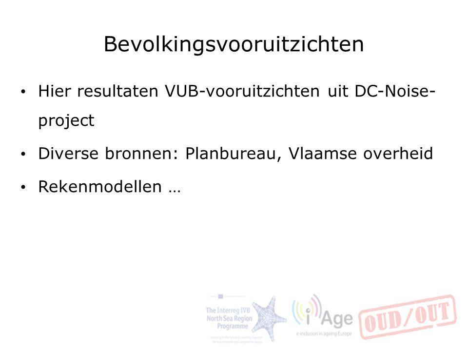 Bevolkingsvooruitzichten Hier resultaten VUB-vooruitzichten uit DC-Noise- project Diverse bronnen: Planbureau, Vlaamse overheid Rekenmodellen … 12