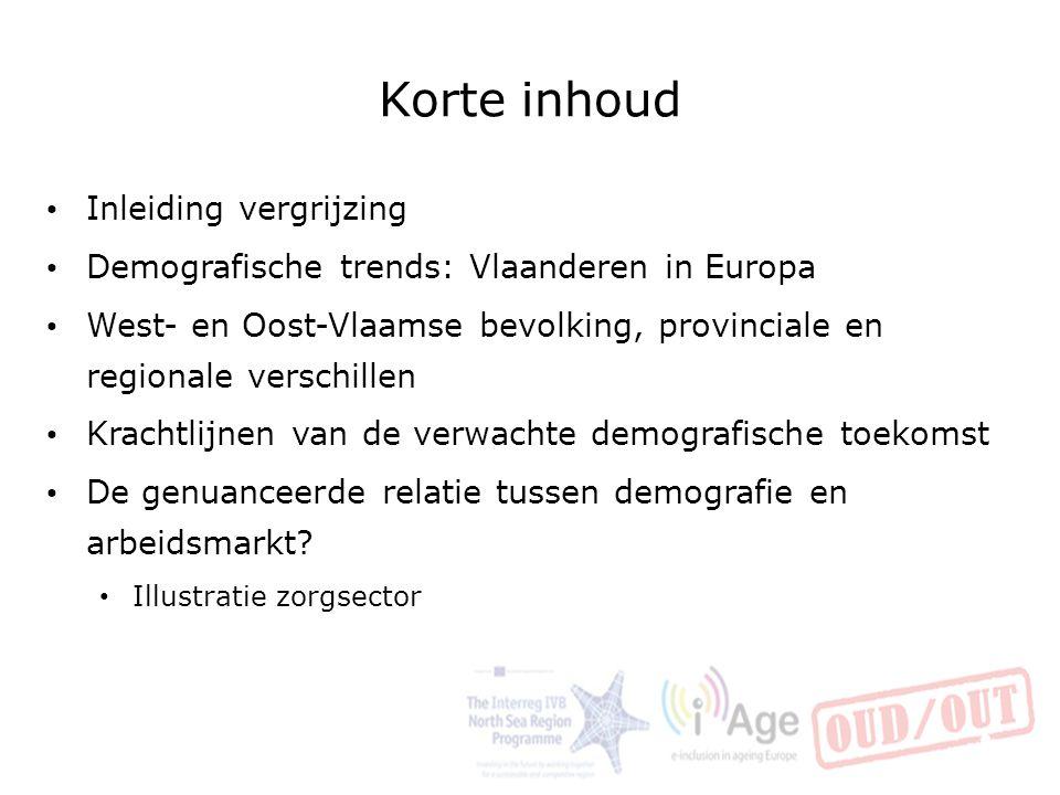 Korte inhoud Inleiding vergrijzing Demografische trends: Vlaanderen in Europa West- en Oost-Vlaamse bevolking, provinciale en regionale verschillen Kr