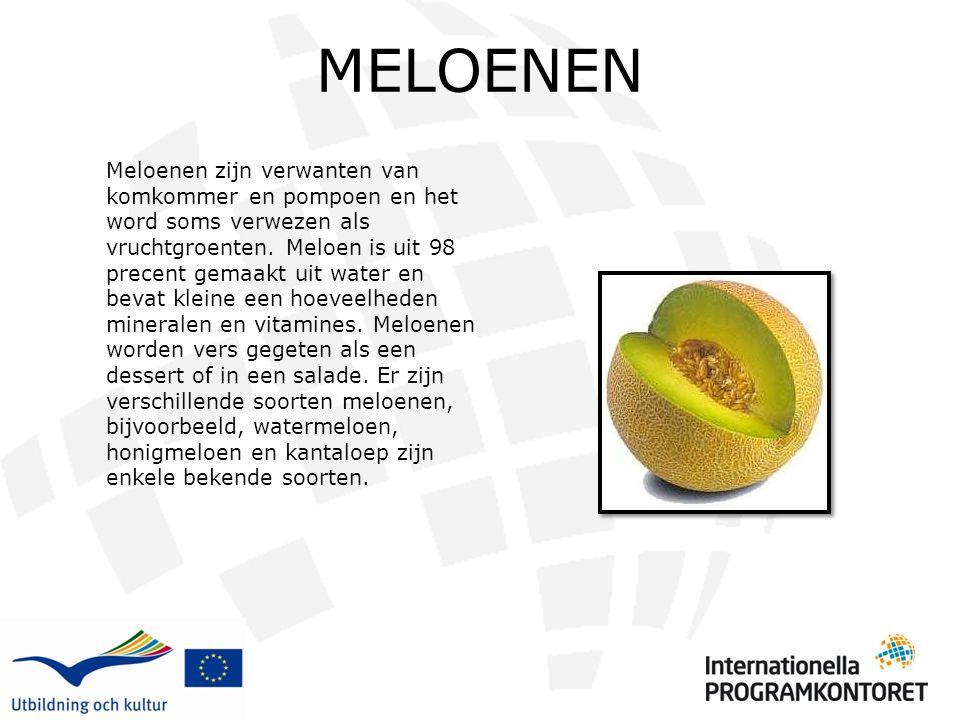 MELOENEN Meloenen zijn verwanten van komkommer en pompoen en het word soms verwezen als vruchtgroenten. Meloen is uit 98 precent gemaakt uit water en