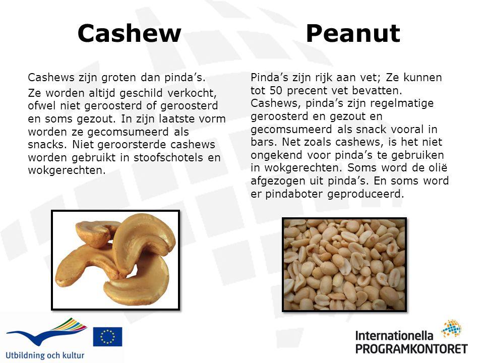 Cashew Cashews zijn groten dan pinda's. Ze worden altijd geschild verkocht, ofwel niet geroosterd of geroosterd en soms gezout. In zijn laatste vorm w