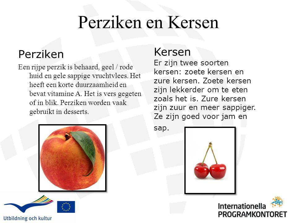 Perziken en Kersen Perziken Een rijpe perzik is behaard, geel / rode huid en gele sappige vruchtvlees. Het heeft een korte duurzaamheid en bevat vitam