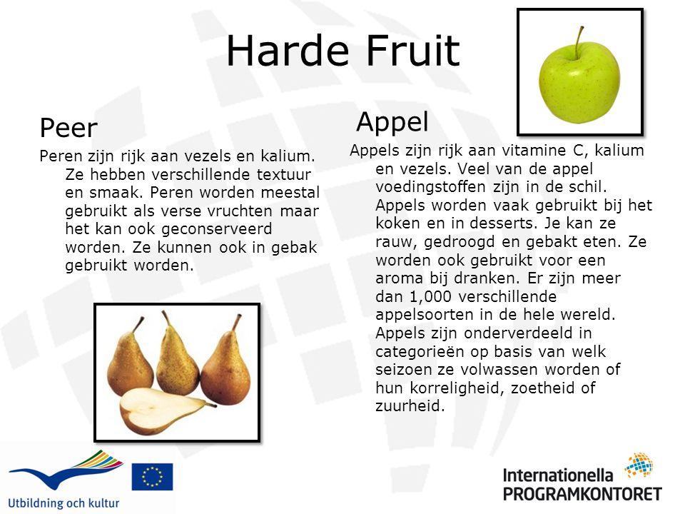 Harde Fruit Appel Appels zijn rijk aan vitamine C, kalium en vezels. Veel van de appel voedingstoffen zijn in de schil. Appels worden vaak gebruikt bi