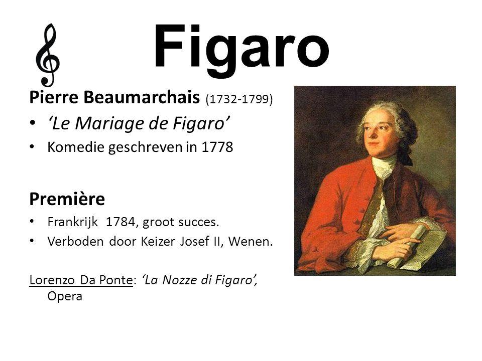 Figaro Pierre Beaumarchais (1732-1799) 'Le Mariage de Figaro' Komedie geschreven in 1778 Première Frankrijk 1784, groot succes. Verboden door Keizer J