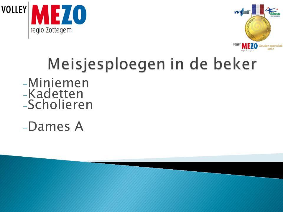 - Miniemen - Kadetten - Scholieren - Dames A