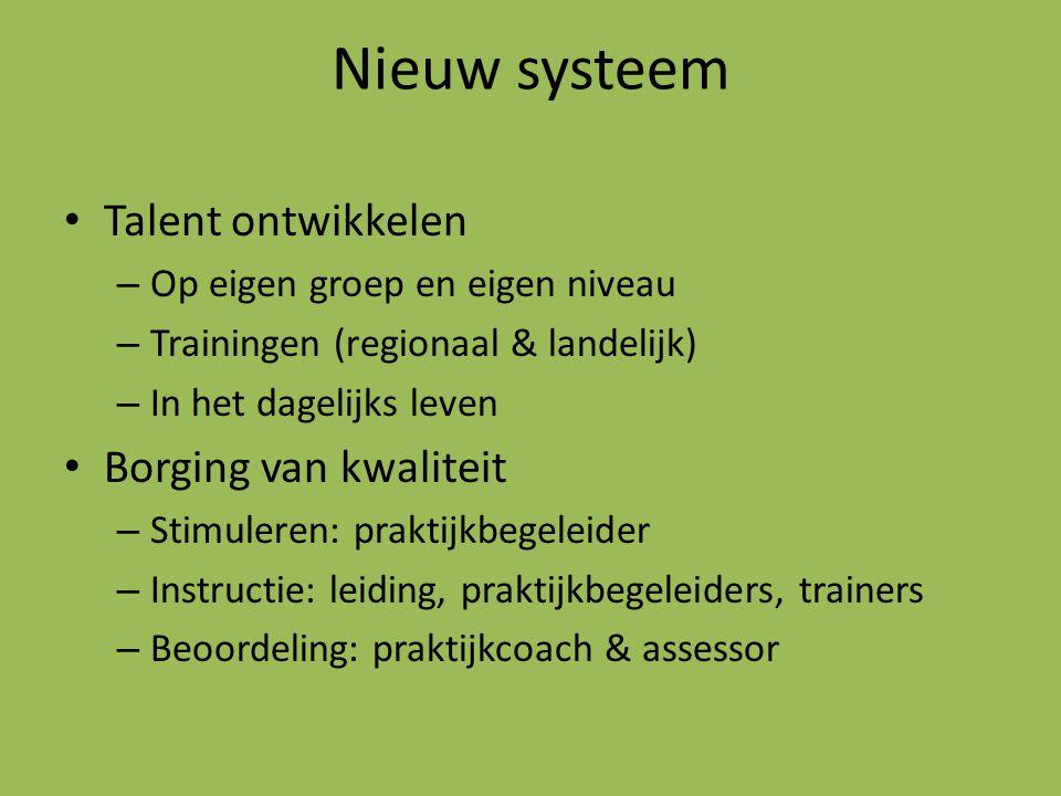 Nieuw systeem Talent ontwikkelen – Op eigen groep en eigen niveau – Trainingen (regionaal & landelijk) – In het dagelijks leven Borging van kwaliteit – Stimuleren: praktijkbegeleider – Instructie: leiding, praktijkbegeleiders, trainers – Beoordeling: praktijkcoach & assessor