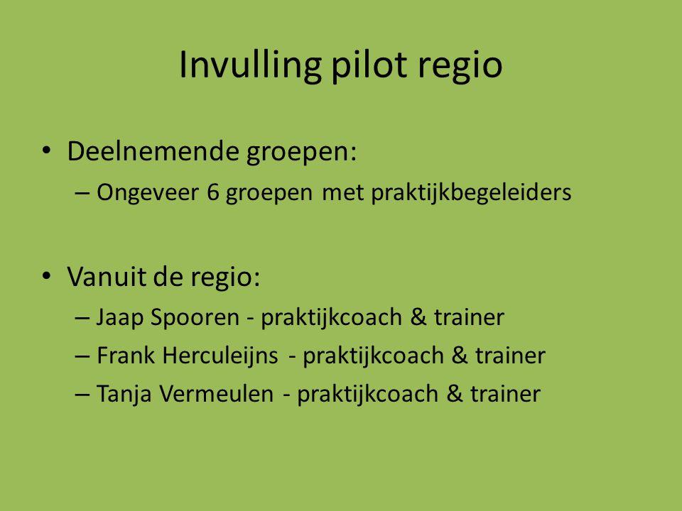 Invulling pilot regio Deelnemende groepen: – Ongeveer 6 groepen met praktijkbegeleiders Vanuit de regio: – Jaap Spooren - praktijkcoach & trainer – Fr