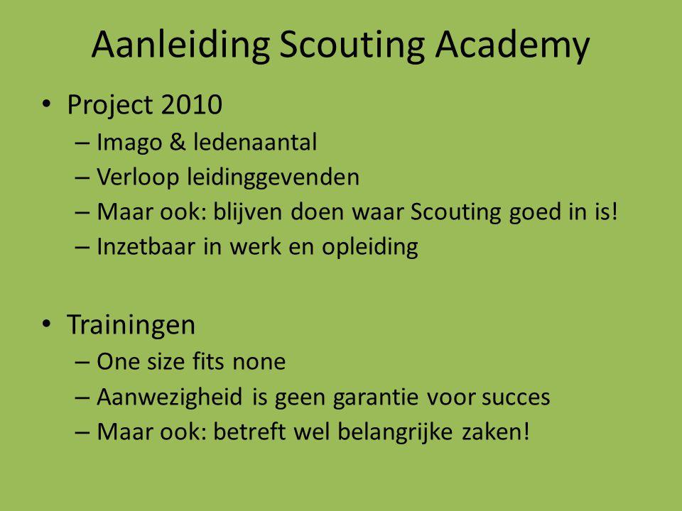 Aanleiding Scouting Academy Project 2010 – Imago & ledenaantal – Verloop leidinggevenden – Maar ook: blijven doen waar Scouting goed in is! – Inzetbaa