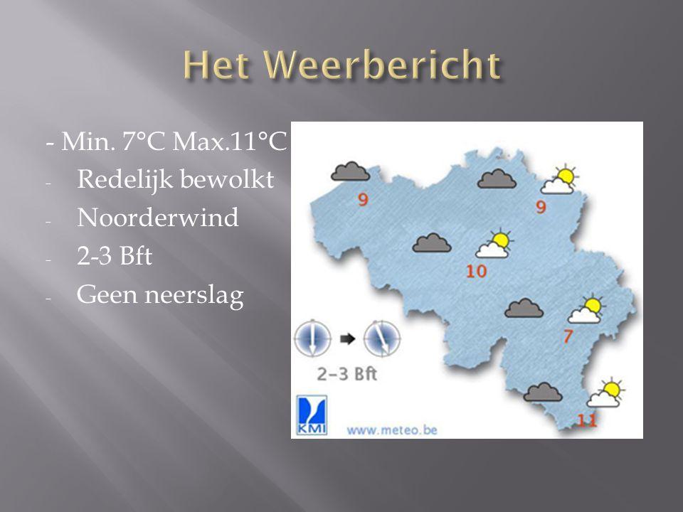 - Min. 7°C Max.11°C - Redelijk bewolkt - Noorderwind - 2-3 Bft - Geen neerslag