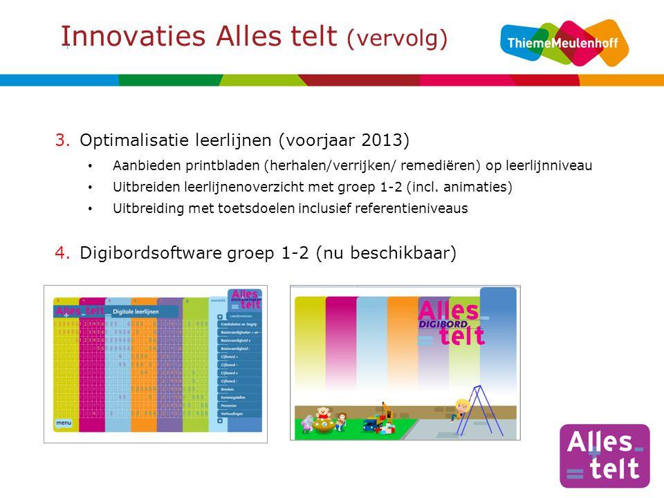 Innovaties Alles telt (vervolg) | 3.Optimalisatie leerlijnen (voorjaar 2013) Aanbieden printbladen (herhalen/verrijken/ remediëren) op leerlijnniveau Uitbreiden leerlijnenoverzicht met groep 1-2 (incl.