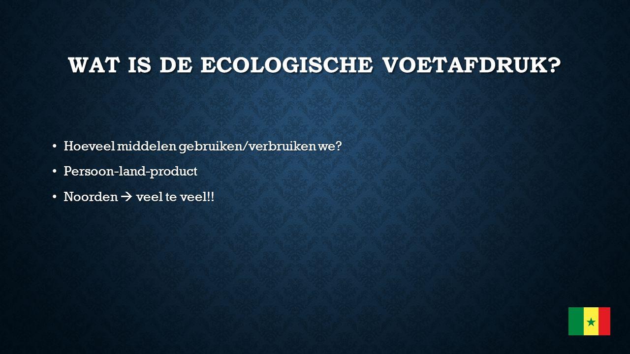 WAT IS DE ECOLOGISCHE VOETAFDRUK? Hoeveel middelen gebruiken/verbruiken we? Hoeveel middelen gebruiken/verbruiken we? Persoon-land-product Persoon-lan
