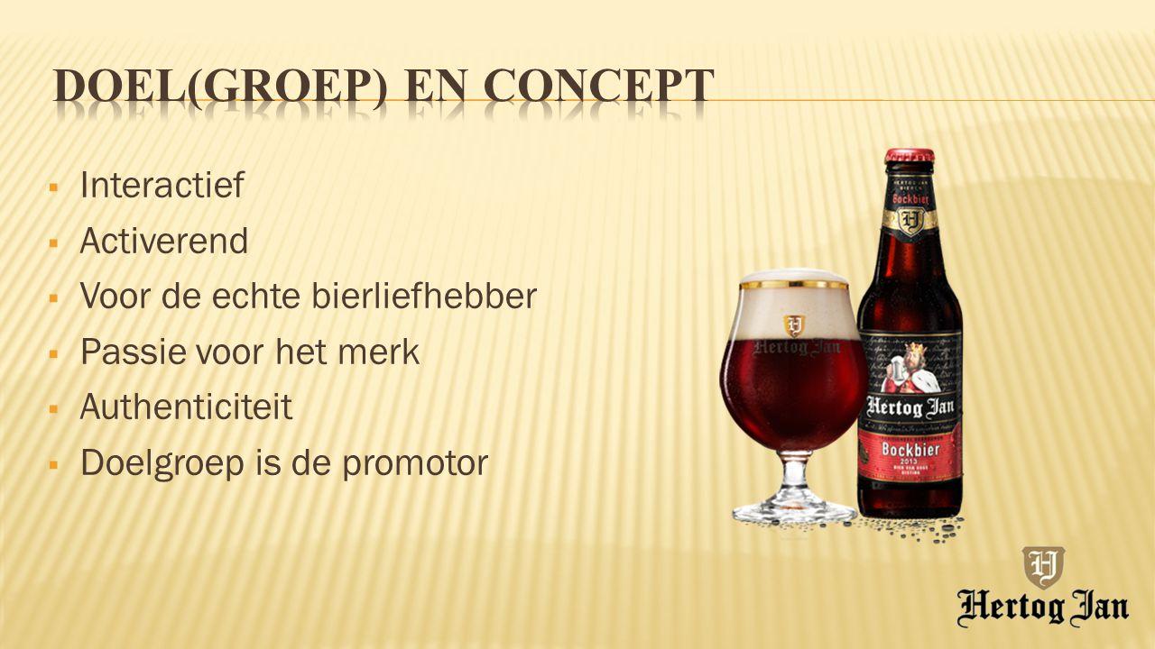  Interactief  Activerend  Voor de echte bierliefhebber  Passie voor het merk  Authenticiteit  Doelgroep is de promotor