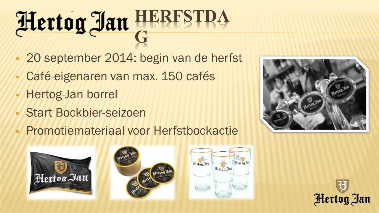  20 september 2014: begin van de herfst  Café-eigenaren van max. 150 cafés  Hertog-Jan borrel  Start Bockbier-seizoen  Promotiemateriaal voor Her