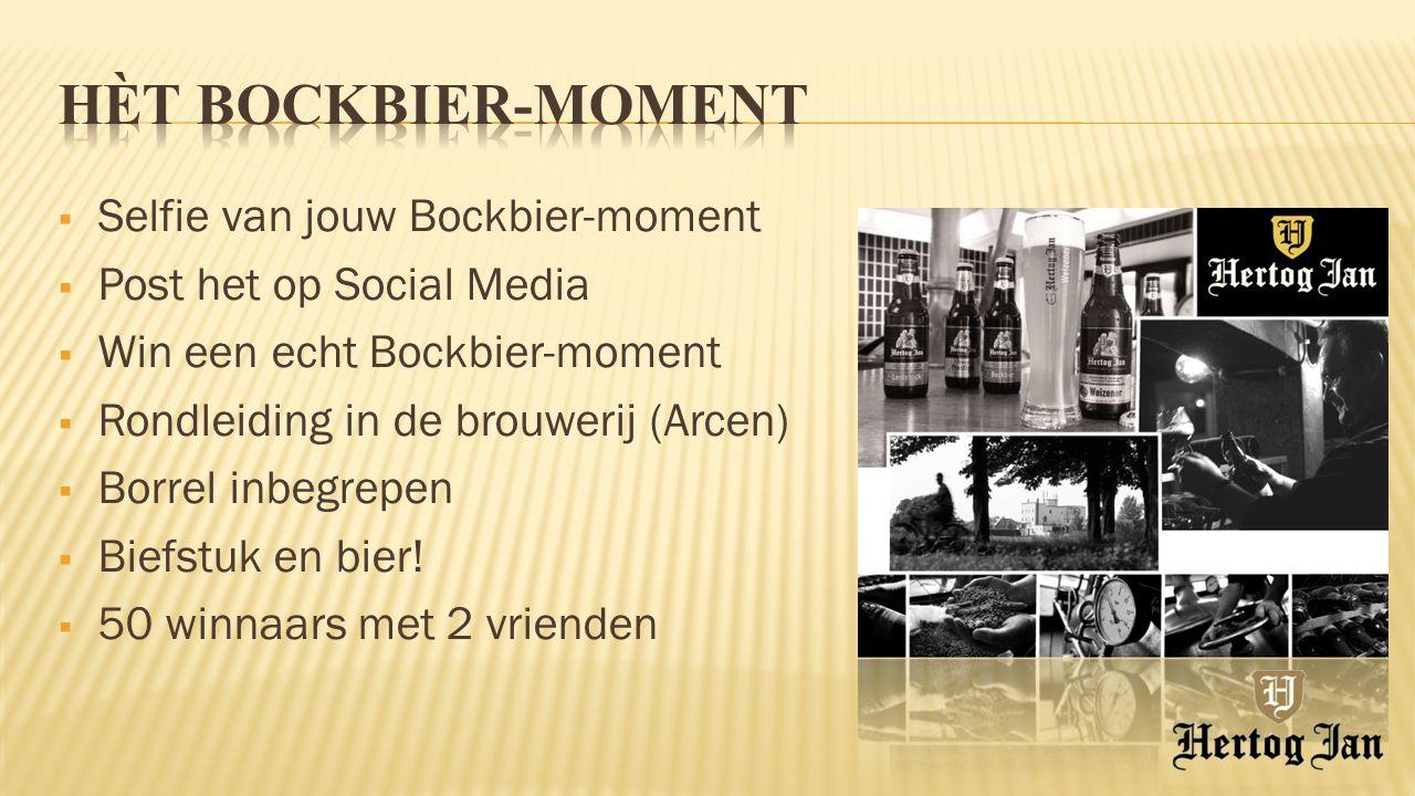  Selfie van jouw Bockbier-moment  Post het op Social Media  Win een echt Bockbier-moment  Rondleiding in de brouwerij (Arcen)  Borrel inbegrepen